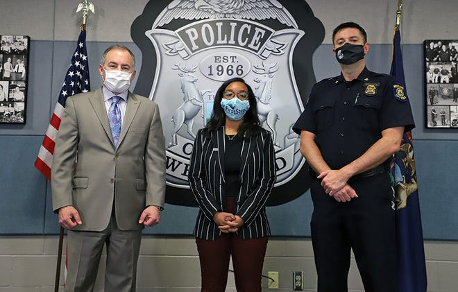 From left to right, Westland Mayor Bill Wild, victims advocate Alexis Reed and Chief Jeff Jedrusik announced a new partnership in April 2021 with First Step, a non-profit organization working to help those impacted by domestic violence in outer Wayne County.