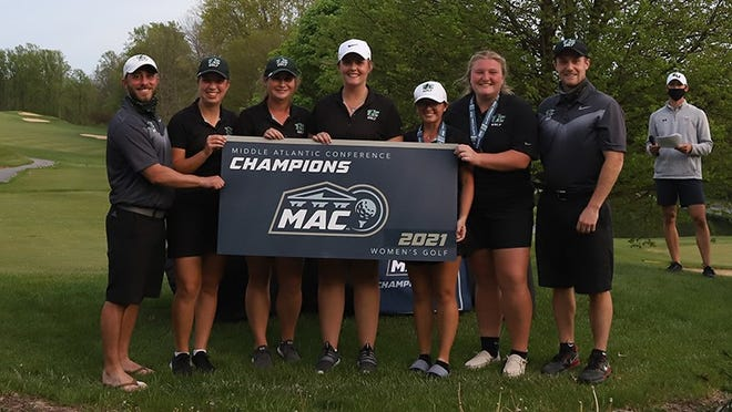 The York College women's golf team is shown after winning MAC title on Sunday.