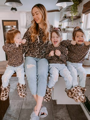 Jessica Serpe of Penfield with her daughters (from left) Harley, Pollie and London, all 3.