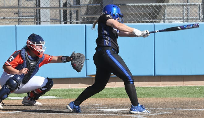 Angelo State University's Ashlynn Box swings at a pitch earlier in the 2021 season. Box is a former Wall High School standout and a two-time All-West Texas MVP.