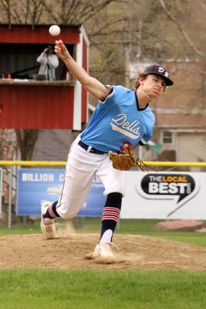 Jack Henry pitches against Baltic at Rickeman Field in Dell Rapids on Friday, April 30.