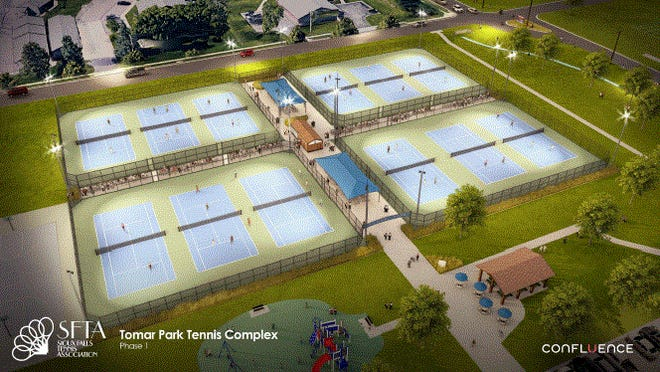 Visuals of what the new tennis courts at Tomar Park would look like.
