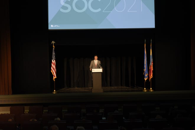 Sioux Falls Mayor Paul TenHaken gives his third State of the City address on May 3, 2021