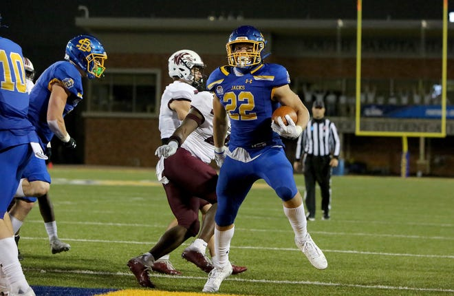 BROOKINGS, SD - MAY 2: Isaiah Davis #22 of the South Dakota State Jackrabbits crosses the goal line against the Southern Illinois Salukis at Dana J Dykhouse Stadium on May 2, 2021 in Brookings, South Dakota. (Photo by Dave Eggen/Inertia)