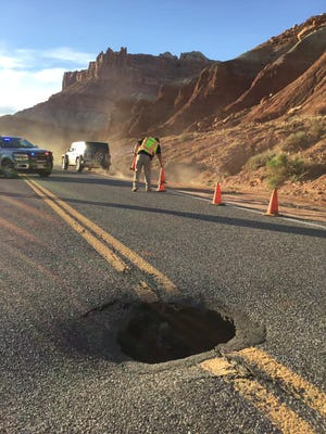 A sinkhole opened up on S.R. 24 on Friday, April 30, 2021, causing a traffic jam near Capitol Reef National Park.