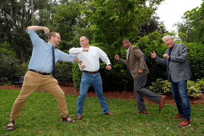 """Community priests: From left, William Hatfield, Jack Campbell, Sean Pittman and Gary Yordon are fighting for the title of People's Priest. They will each make a guest cameo as the priest during different performances of  Southern Shakespeare's """"Twelfth Night."""""""