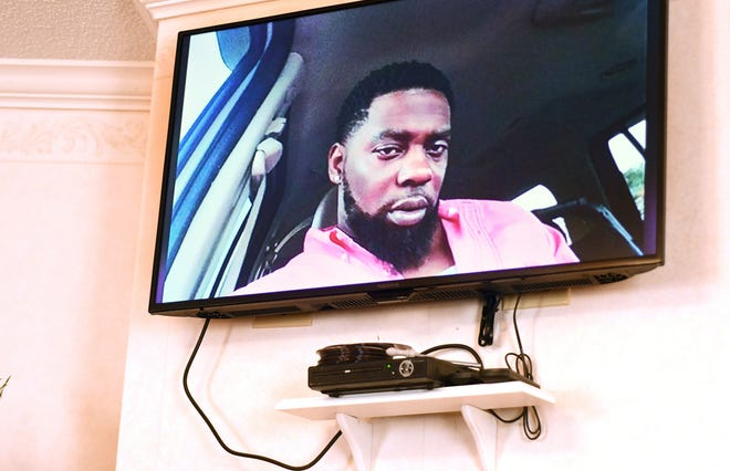 A video tribute played during the public viewing for Andrew Brown Jr. at Horton's Funeral Home in Hertford, N.C., Sunday, May 2, 2021.