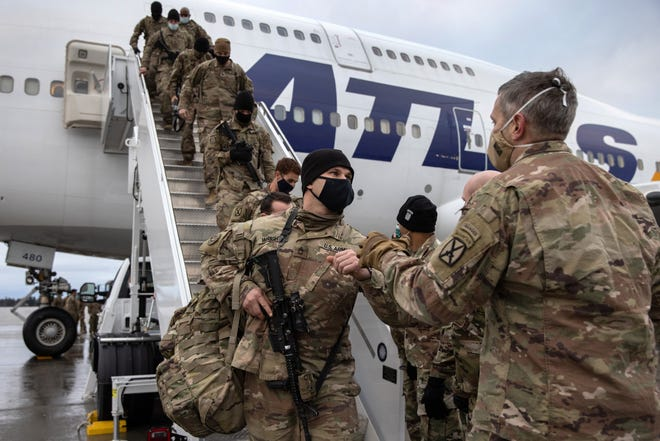 U.S. Army soldiers return from Afghanistan on Dec. 10, 2020, in Fort Drum, New York.