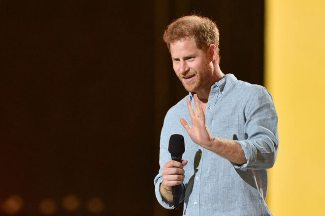 """Prince Harry congratulates brave essential workers and pushes for COVID vaccine equity worldwide at Sunday's """"Vax Live"""" concert in Inglewood, California."""