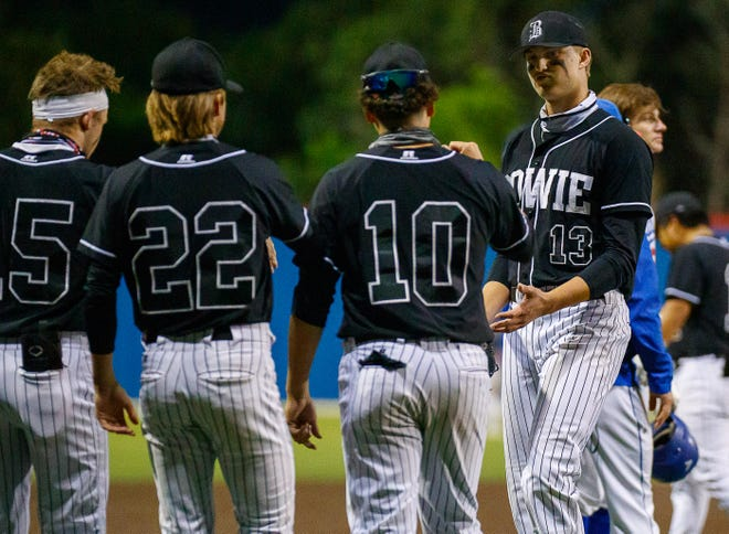 Bowie pitcher Patrick Collopy, right, and his teammates beat Hays Monday to secure the second seed in District 26-6A. The playoffs begin this week, with teams in 26-6A matching up with teams from District 25-6A.