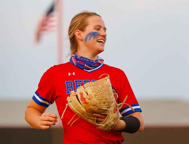 Hays junior pitcher Katie Noble, reacting after recording an out against Lake Travis in April, intends to go to chiropractic school after she completes her college education.