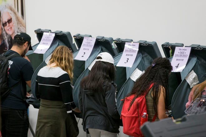 Texas State University students are shown voting in 2018. Texas has about 1.5 million students at state universities and community colleges, but state law does not recognize student IDs as valid voter ID at the polls.