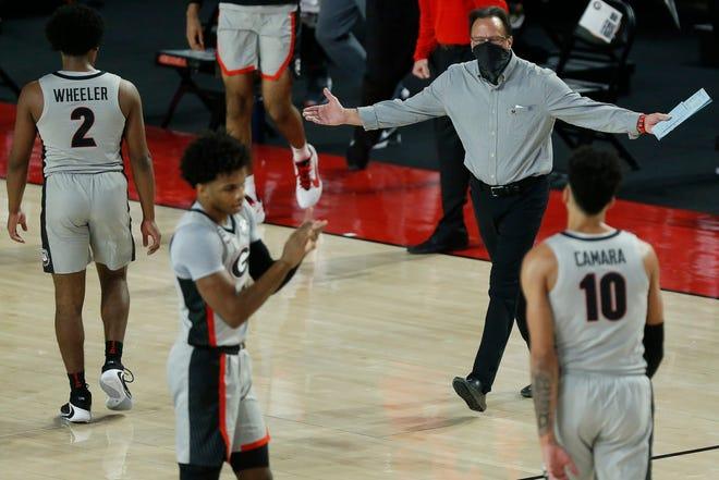 Georgia basketball coach Tom Crean reacts during a game between Alabama and Georgia in Athens, Ga., on Saturday, March 6, 2021. (Photo/Joshua L. Jones, Athens Banner-Herald)  News Joshua L Jones