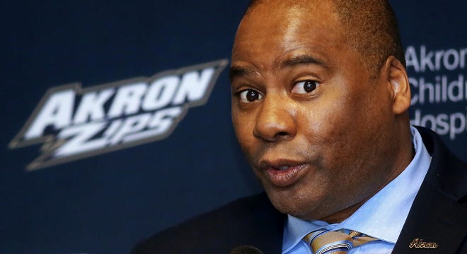 Charles Guthrie, the University of Akron's new athletic director, speaks Tuesday at InfoCision Stadium.