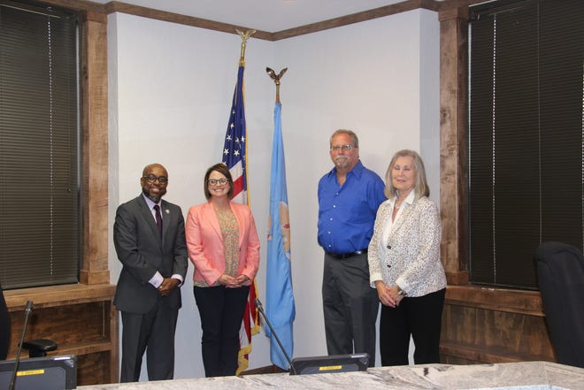 The members of the 2021-2022 Ardmore City Commission after two new commissioners were sworn in on Monday, May 3. From left: Commissioner John Credle, Mayor Beth Glasgow, Commissioner David Plesher and Vice-Mayor Sheryl Ellis. (Not pictured: Commissioner Doug Pfau who attended the city commission meeting via Zoom.)