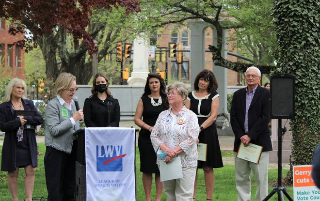 The League of Women Voters celebrated People Powered Fair Maps Day Thursday to honor efforts to prevent gerrymandering of legislative districts.  Participating in the event are (front) speaker Ardith Talbot. the LWV Fair District advocate, and Jean Weston, the league's co-president, and (back row, left to right)  Bucks County Commissioner Diane Ellis-Marseglia, state Reps.  Shelby Labs, Kathleen Tomlinson and Wendi Thomas, and Bucks Commissioner Gene DiGirolamo.
