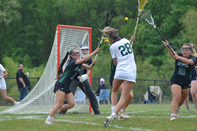 West Deptford goalie Isabella Gismondi sets up for a save against Clearview attacker Hailey Russo