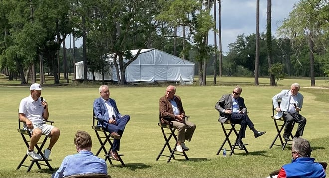 PGA Tour golfer Lucas Glover, left, speaks May 3 about efforts to improve Sergeant Jasper Golf Club during media day for the Palmetto Championship at Congaree.