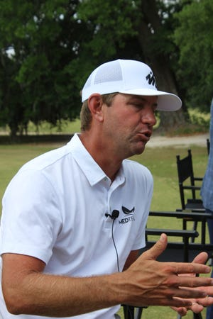 PGA Tour golfer Lucas Glover speaks May 3 about efforts to improve Sergeant Jasper Golf Club during media day for the Palmetto Championship at Congaree.