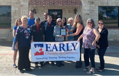 """The Early Chamber of Commerce named Chicken Express as March Business of the Month. Since 2007, Chicken Express in Early has been providing its """"legendary Express Tenders and Chicken E Sweet Tea."""" Please help us in congratulating Chicken Express and to say a big thank you for all that they have done for the Early Chamber as well as our community."""