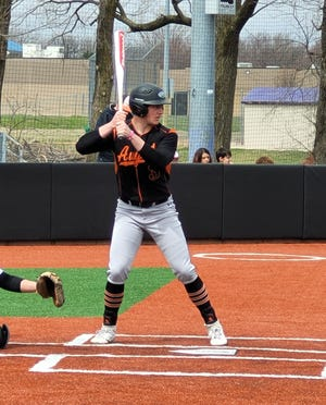 Augusta's Ryan Andrews bats in a game earlier this year.