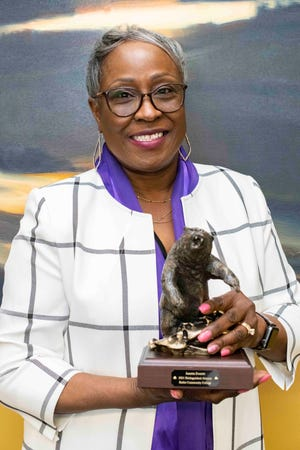 021 Butler Community College Distinguished Alumna Junetta Everett with her award. Everett will serve as the commencement speaker for Butler on May 14.