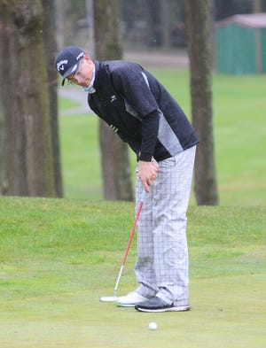 Cheboygan sophomore PJ Maybank III putts during his round at the Petoskey Invitational held at Bay View Country Club in Petoskey on Monday. Maybank III broke the Cheboygan school record for an 18-hole round by firing a seven-under 64. For the third straight tournament, Maybank III took home medalist honors.