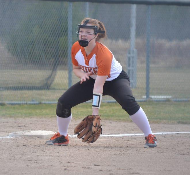 Cheboygan senior third baseman Jenna Laway gets ready to field during a varsity softball game from earlier this season.