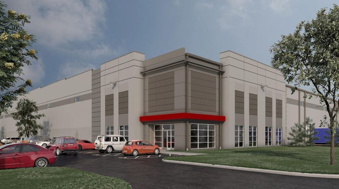 This rendering shows the 750,000-square-foot warehouse being built for Owens Corning in Heath.