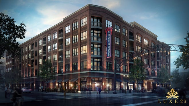 A rendering of the Luxe 23 building in the Short North, which will be home to Urban Chophouse, Whiskey Lounge and the Terrace Bar.