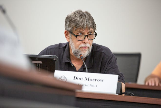 Commissioner Don Morrow speaks during a county building committee meetign inside the Tom Primm Commission Meeting Room in Columbia, Tenn., on Monday, May 3, 2021.