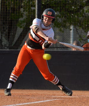 North Davidson's Emma Frye takes a swing in a game earlier this season. Frye and the Black Knights beat Bunker Hill 8-0 to advance to the second round of the 2-A state playoffs. [Mike Duprez/The Dispatch]