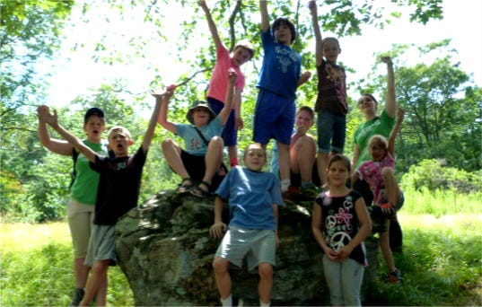 Campers hiking on the Blair Hill Trail.