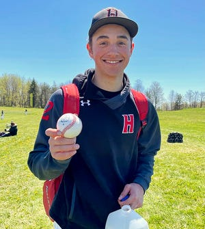 Honesdale's Sam Jones crushed the first homer of his varsity career Saturday morning at Mountain View. Amazingly enough, Sam's grand slam came exactly six years after he hit his first Little League round tripper.