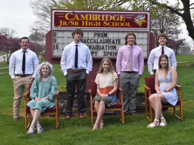 Cambridge High School is hosting a prom (without dancing) on Saturday, May 8, in the school gymnasium. Court members are, in front from left, Kaley Martin, Kiley Martin and Kendall Lewis, and in back, Jarrett Lund, Brant Casteel, Victor Snook and Colton Stahl. Not pictured is Tatum Miller