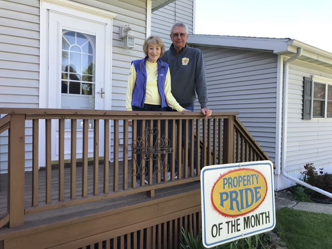 Greg and Marti White at 318 SE First Street in Galva received the May Property Pride award from the Galva: Ready to Grow committee. The Whites have lived in their home about 44 years. Marti said over the years she has exchanged plants with some of her neighbors. She said some of the neighbors are no longer here and she has nice memories in her flowers and bushes of them.  Greg gave all of the credit of the flowers to Marti. Greg enjoys playing golf.