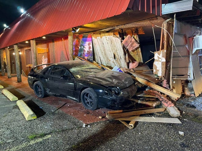 A car crashed into the Chef KD building at Hwy. 74 and Babin Road early May 2.
