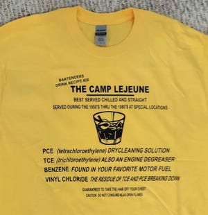 This Camp Lejeune cocktail t-shirt originally designed by a Marine Corps veteran over a decade ago is set to be reprinted in a limited run by the spouse of an ailing Camp Lejeune veteran.