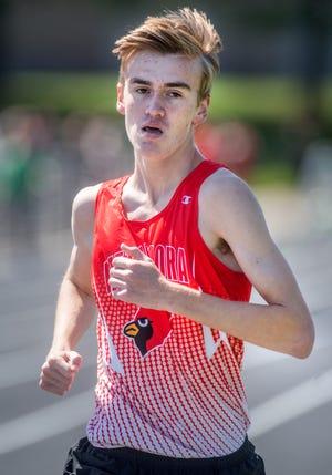 Metamora's Ian O'Laughlin competes in the 3200-meter run Saturday, May 1, 2021 at the Metamora Co-Ed Invitational.