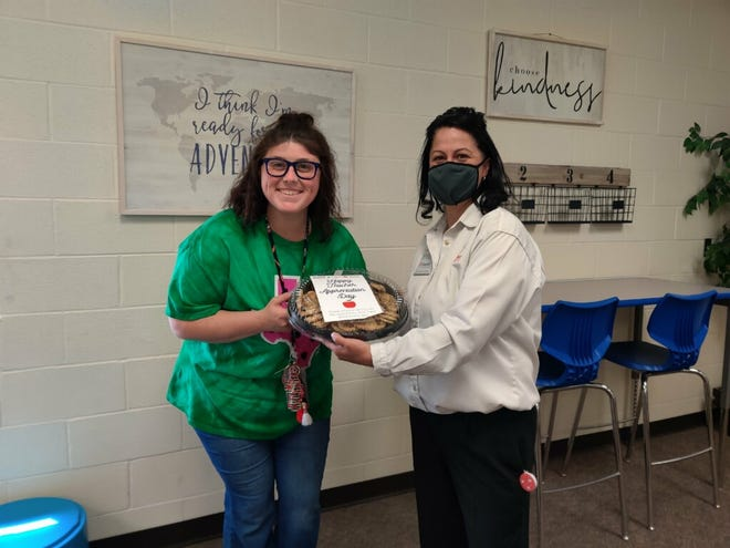 A first-grade teacher at Frenship's North Ridge Elementary received cookies from United Supermarket's as part of the stores' Teacher Appreciation Day cookie giveaway Tuesday in Lubbock.