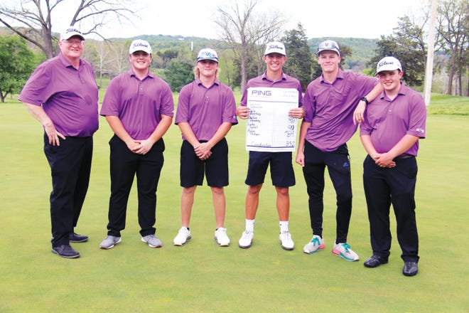 The Camdenton boys golf team finished fourth in the Ozark Conference Tournament on May 3 at Lake Valley Golf Club in Camdenton. FROMLEFT TORIGHT: Coach Jason Horne, Luke Sweat, Gunnar Schuster, Cale Bentley, Dallas Downey and Rylee Hodges.