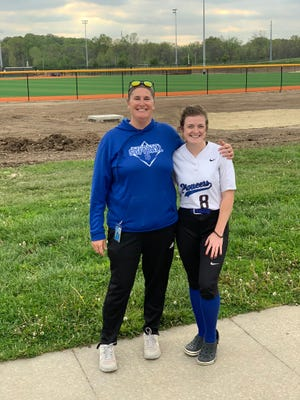 Shown is Leavenworth softball senior third baseman Mikayla Garrison with head coach Kacy Tillery.
