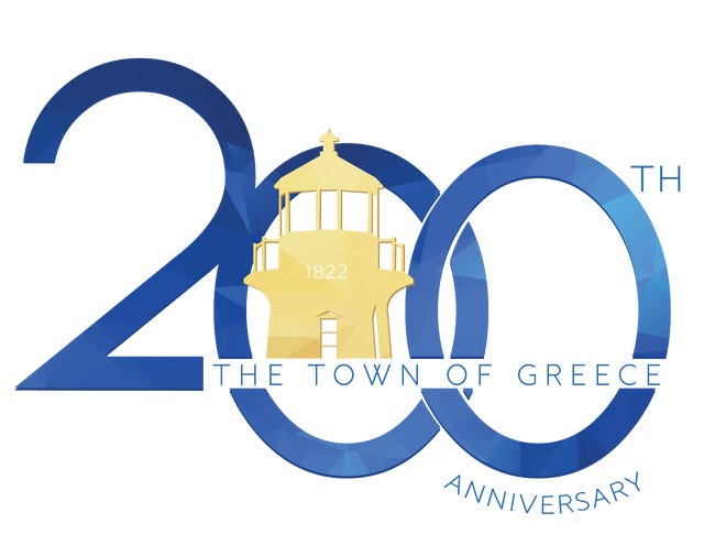 Sarah Pearlman Ventura's winning logo for the town of Greece's 200th anniversary.