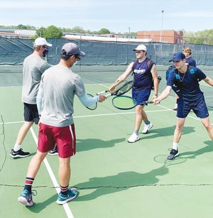 Pictured are above from left to right, Nolan Fischer and Andy Lee; at left, Abby Hausladen and Sidney Ozcan and the rest of the Lady Wildcats' tennis team, at right, during this week's home match vs. Anderson County (ORHS team introduction ceremonies).