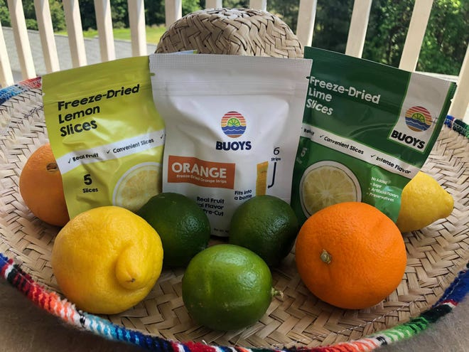 An assortment of Buoys freeze-dried citrus products.