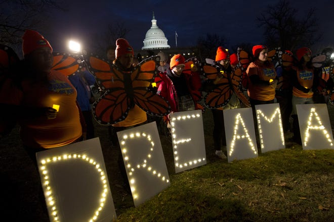 Demonstrators rally in support of Deferred Action for Childhood Arrivals (DACA) during a rally in Washington in 2018.