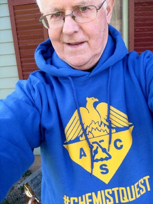 """The Akron Section of the American Chemical Society is hosting a """"selfie scavenger hunt."""" Pictured is the hoodie that serves as the event's prize."""