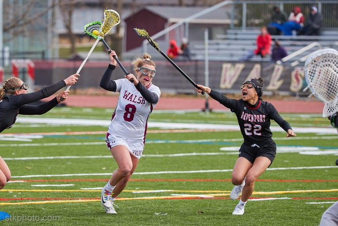 Hannah McFeeters (8) leads the Walsh women's lacrosse team in scoring with 41 goals and 20 assists for 61 points.