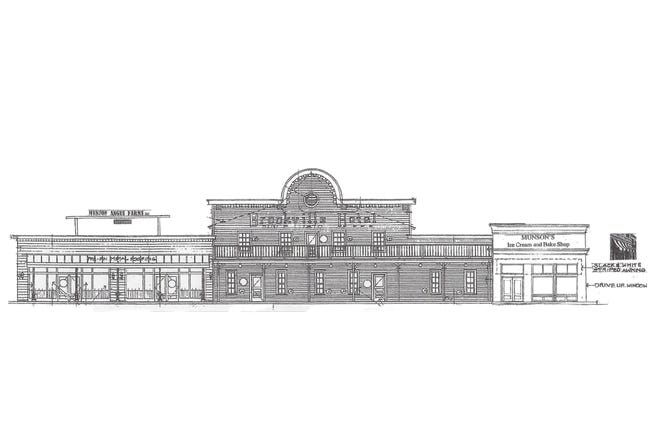 A rendering of the facade for Legacy Kansas LLC. The Brookville Hotel and Munson Prime steakhouse are combining to become one restaurant that is set to open on June 23, 2021.