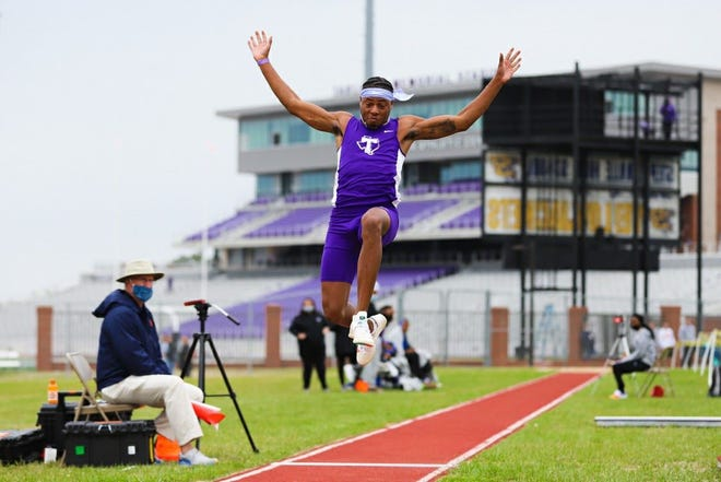"""Tarleton junior Alan Palmer leapt 25' 2"""" to win the long jump at the Texas A&M Alumni Muster and now ranks first in the WAC. Palmer is one inch away from breaking Tarleton's outdoor record and cementing himself as the best athlete to compete in the long jump in school history."""